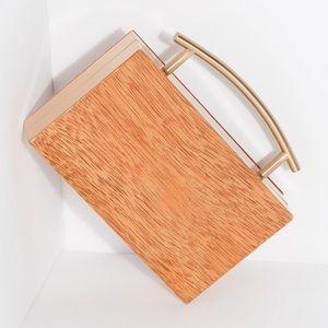 Free People Edie Acrylic Top Handle Wooden Clutch